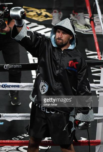 Sergey Kovalev gestures to the crowd as he enters the ring for his light heavyweight championship bout against Andre Ward at the Mandalay Bay Events...