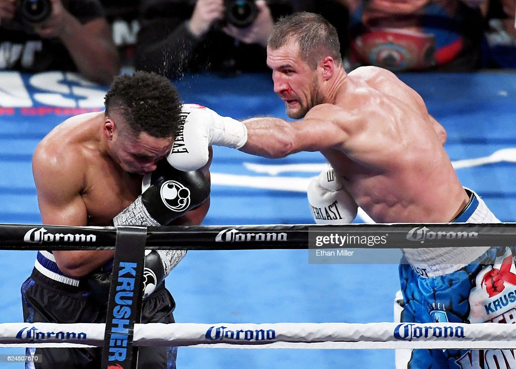 Sergey Kovalev (R) hits Andre Ward with a left in the 11th round of their light heavyweight championship bout at T-Mobile Arena on November 19, 2016 in Las Vegas, Nevada. Ward took Kovalev's WBA, IBF and WBO titles with a unanimous-decision victory.
