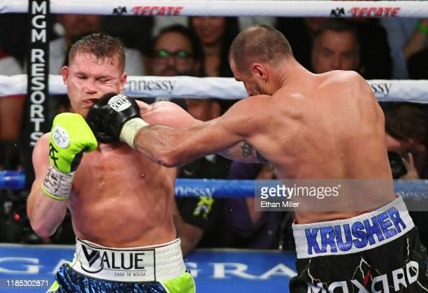 Sergey Kovalev hits Canelo Alvarez in the ninth round of their WBO light heavyweight title fight at MGM Grand Garden Arena on November 2, 2019 in Las...