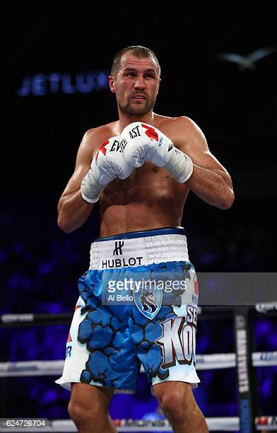 Sergey Kovalev in action against Andre Ward during their WBO/IBF/WBA Light Heavyweight Championship fight at T-Mobile Arena on November 19, 2016 in...