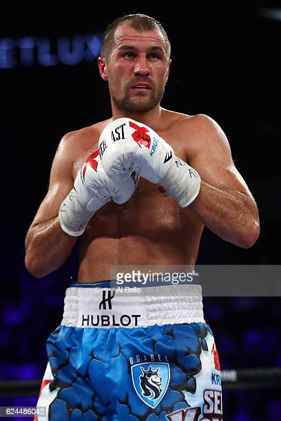 Sergey Kovalev of Russia battles Andre Ward in their light heavyweight title bout at TMobile Arena on November 19 2016 in Las Vegas Nevada