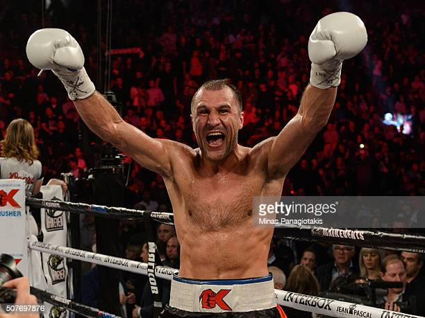 Sergey Kovalev of Russia celebrates his victory over Jean Pascal of Canada by way of TKO during the WBO, WBA, and IBF light heavyweight world...