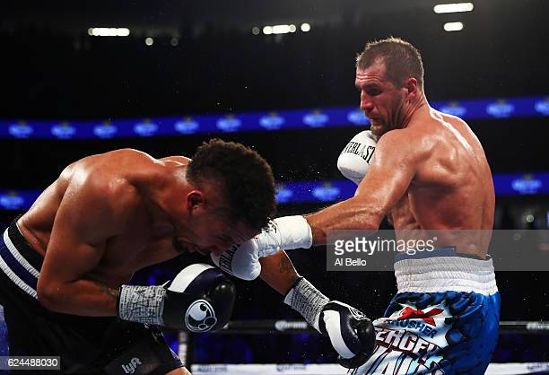Sergey Kovalev punches Andre Ward during their WBO/IBF/WBA Light Heavyweight Championship fight at TMobile Arena on November 19 2016 in Las Vegas...