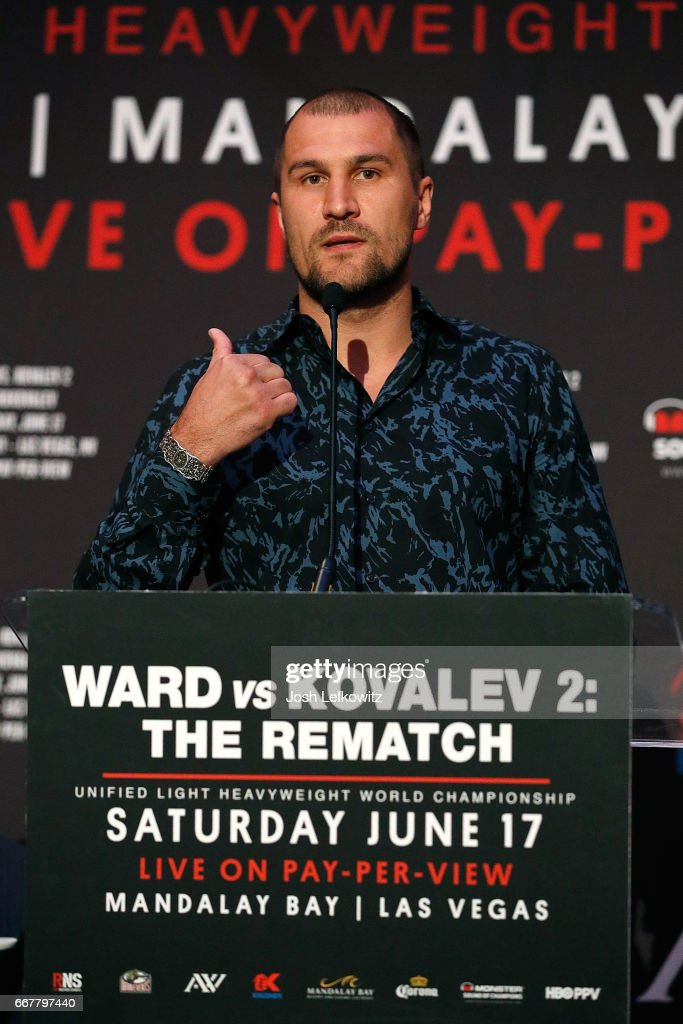Sergey Kovalev speaks during the press conference at the Roosevelt Ballroom on April 12, 2017 in Los Angeles, California. Sergey Kovalev will challenge Andre Ward for the Unified Light Heavyweight World Championship Saturday, June 17, 2017 at the Mandalay Bay Resort in Las Vegas.