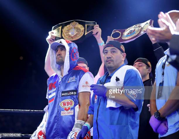 Sergey Kovalev stands in his corner duirng fighter introductions before his bout with Eleider Alvarez during the WBO/IBA Light Heavyweight Title bout...