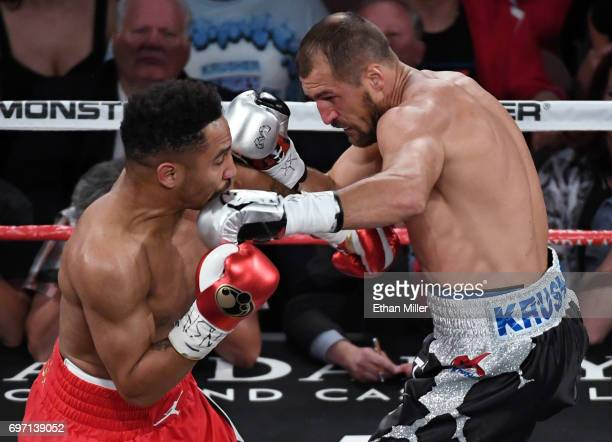 Sergey Kovalev throws a left at Andre Ward in the first round of their light heavyweight championship bout at the Mandalay Bay Events Center on June...