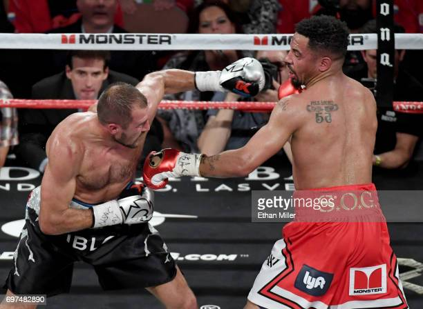 Sergey Kovalev throws a left at Andre Ward in the seventh round of their light heavyweight championship bout at the Mandalay Bay Events Center on...