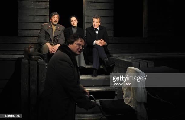 Sergey Kuryshev as Ivan Chebutikin Ekaterina Tarasova as Irina Sergey Vlasov as Fedor Kuligin and Aleksandr Bikovskii as Andrey Prosorov in The Maly...