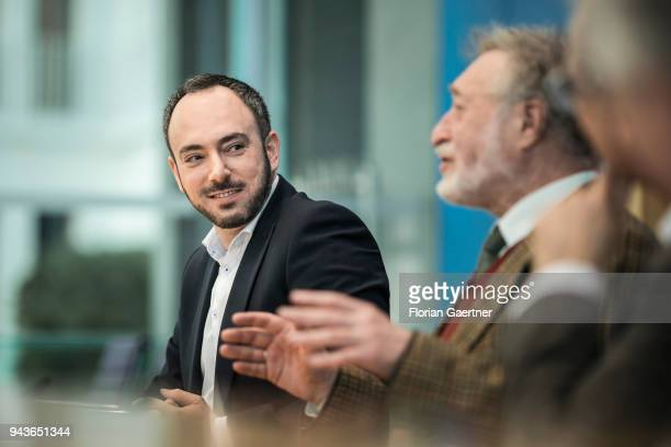 Sergey Lagodinsky Member of the Board of Representatives of the Jewish Community Berlin is pictured during a press conference on April 09 2018 in...