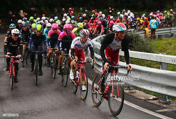 Sergey Lagutin of Russia and Team Katusha rides at the front of the peloton during the 2015 Milan-Sanremo race, a 293km road race from Milan to...