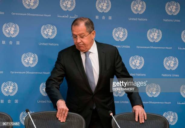 Sergey Lavrov Minister for Foreign Affairs of Russian arrives to speak to reporters January 19 2018 at the United Nations in New York / AFP PHOTO /...