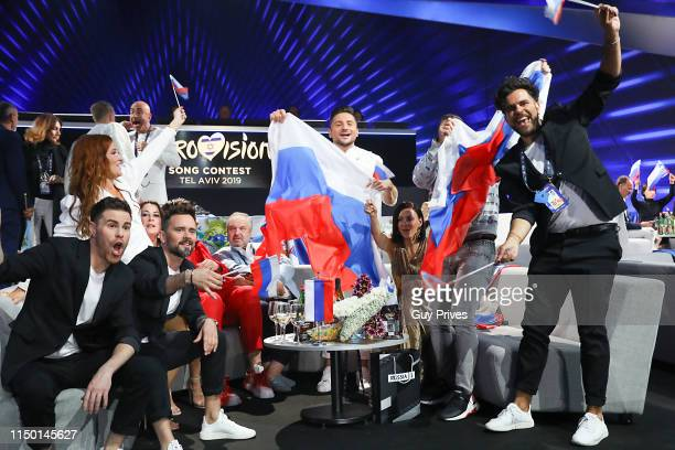 Sergey Lazarev of Russia and friends during the 64th annual Eurovision Song Contest held at Tel Aviv Fairgrounds on May 18 2019 in Tel Aviv Israel