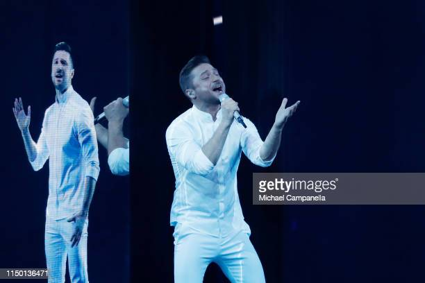 Sergey Lazarev representing Russia performs live on stage during the 64th annual Eurovision Song Contest held at Tel Aviv Fairgrounds on May 18 2019...