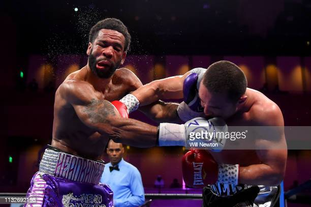 Sergey Lipinets punches Lamont Peterson during their welterweight fight at The Theater at MGM National Harbor on March 24 2019 in Oxon Hill Maryland