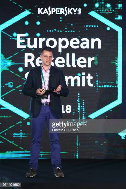 Sergey Martsynkyan holds a speech at the Kaspersky Lab European Reseller Summit 2018 on June 12 2018 in Milano Marittima Cervia Italy Kaspersky Lab...