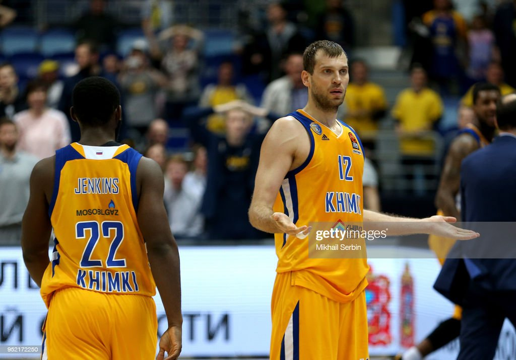 Sergey Monia, #12 of Khimki Moscow Region after the Turkish Airlines Euroleague Play Offs Game 4 between Khimki Moscow Region v CSKA Moscow at Arena Mytishchi on April 27, 2018 in Moscow, Russia.