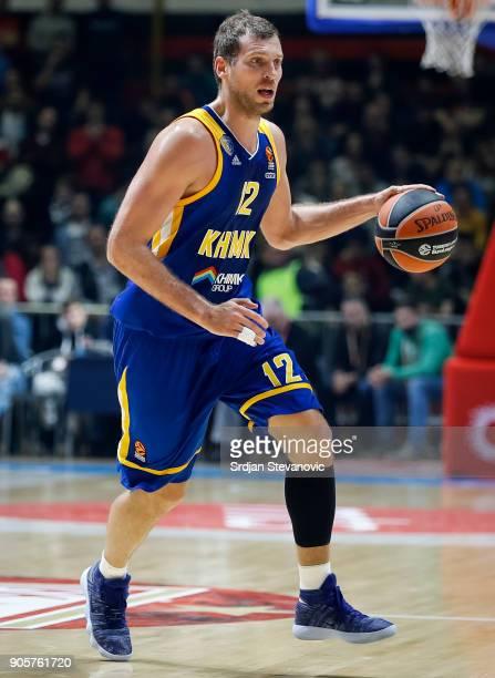 Sergey Monia of Khimki in action during the 2017/2018 Turkish Airlines EuroLeague Regular Season Round 18 game between Crvena Zvezda mts Belgrade and...