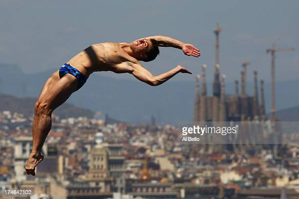 Sergey Nazin of Russia competes during the Men's 10m Platform Diving final on day nine of the 15th FINA World Championships at Piscina Municipal de...