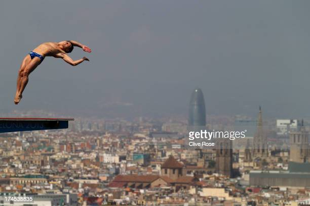 Sergey Nazin of Russia competes in the Men's 10m Platform Diving Semifinal round on day eight of the 15th FINA World Championships at Piscina...