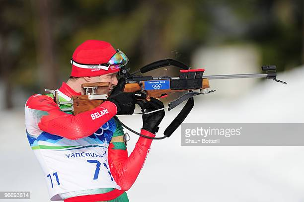 Sergey Novikov of Belarus competes in the men's biathlon 10 km sprint final on day 3 of the 2010 Winter Olympics at Whistler Olympic Park Biathlon...