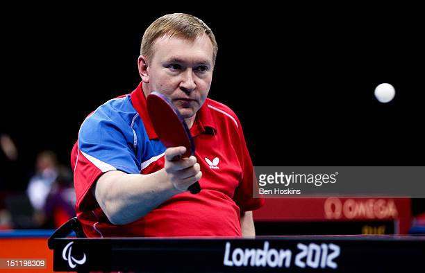 Sergey Poddubnyy of Russia in action during the Men's Singles Table Tennis - Class 2 on day 5 of the London 2012 Paralympic Games at the ExCel on...