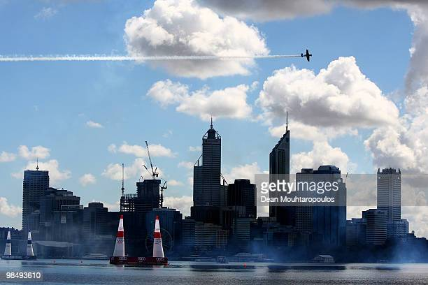 Sergey Rakhmanin of Russia in action over the Swan River during the Red Bull Air Race Training Day Two on April 16 2010 in Perth Australia