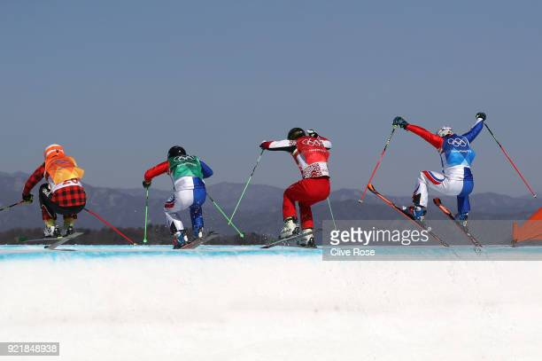 Sergey Ridzik of Olympic athletes of Russia Dave Duncan of Canada Francois Place of France and Jean Frederic Chapuis of France competes in the...