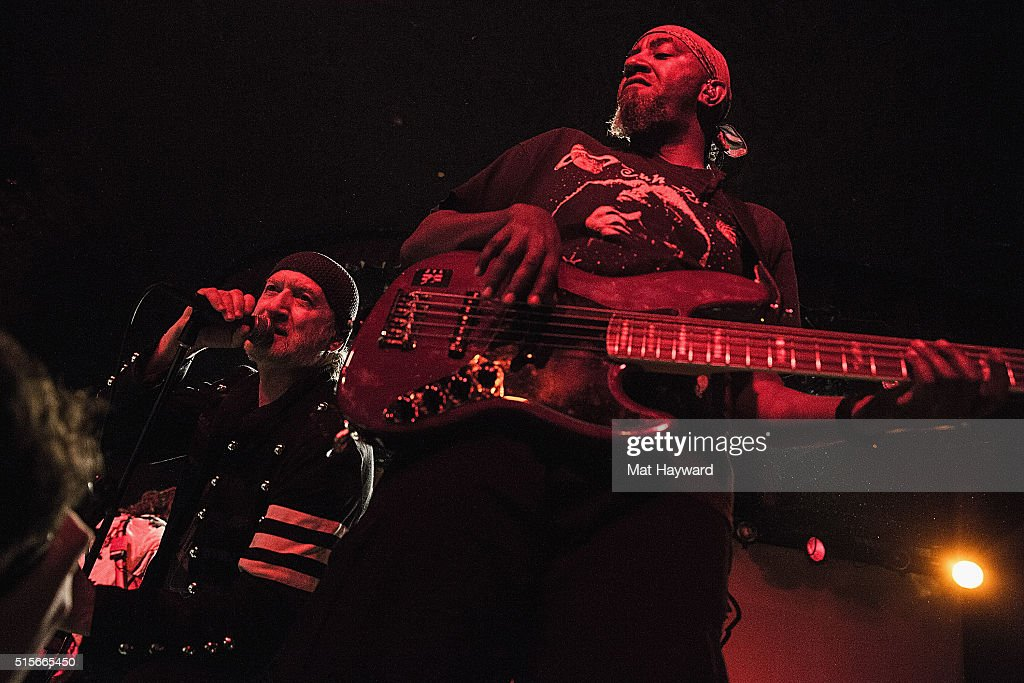 Sergey Ryabtzev (L) and Thomas Gobena of Gogol Bordello perform on stage at The Showbox on March 14, 2016 in Seattle, Washington.