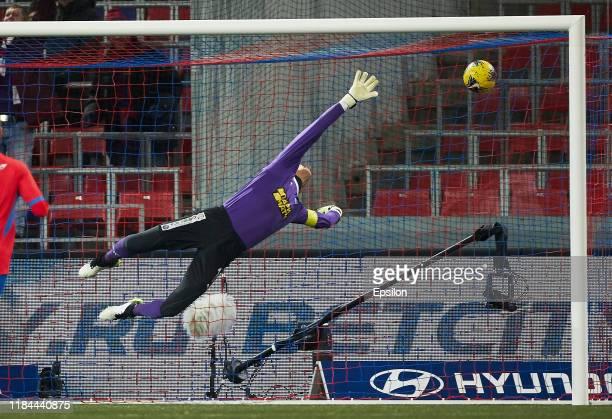 Sergey Ryzhikov of FC Krylia Sovetov Samara misses the goal by Nikola Vlasic of PFC CSKA Moscow during the Russian Football League match between PFC...