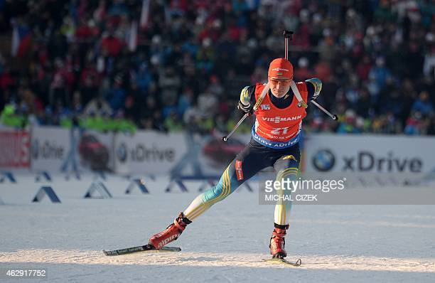 Sergey Semenov of the Ukraine competes during the men's 10 km sprint competition part of IBU Biathlon World Cup in Nove Mesto Czech Republic on...
