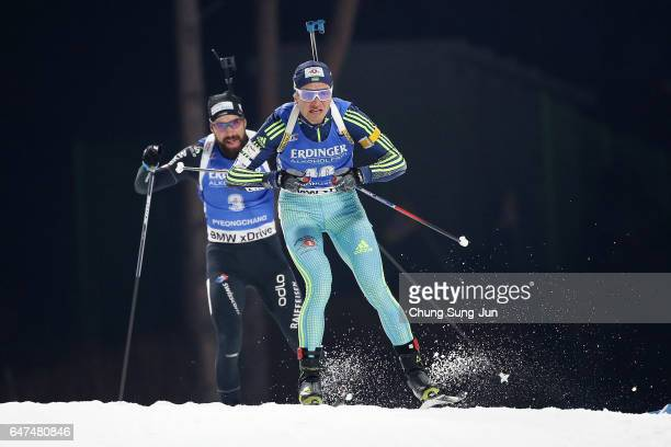 Sergey Semenov of Ukraine competes in the Men 10km Sprint during the BMW IBU World Cup Biathlon 2017 test event for PyeongChang 2018 Winter Olympic...