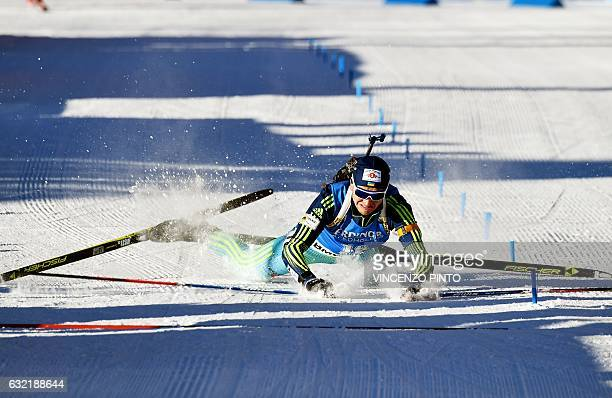 Sergey Semenov of Ukraine crashes as he crosses the finish line of the Biathlon World Cup Men's 20km individual race in Anterselva on January 20 2017...