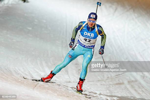 Sergey Semenov of Ukraine in action during the IBU Biathlon World Cup Men's Sprint on December 15 2016 in Nove Mesto na Morave Czech Republic