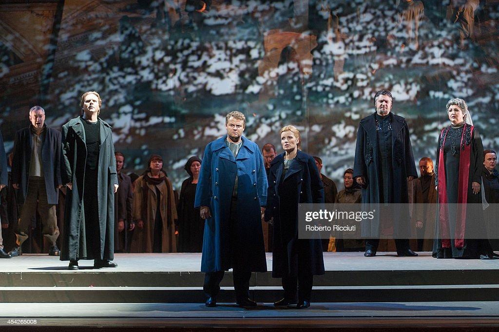 Sergey Semishkur, Timur Abdikeyev and Elena Vitman of Mariinsky Opera perform during a photocall for 'Les Troyens' at the Edinburgh International Festival at Festival Theatre on August 27, 2014 in Edinburgh, Scotland.