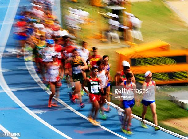 Sergey Shirobokov of Russia and others in action during the Boys 10000 Metres Race Walk Final on day four of the IAAF World Youth Championships Cali...