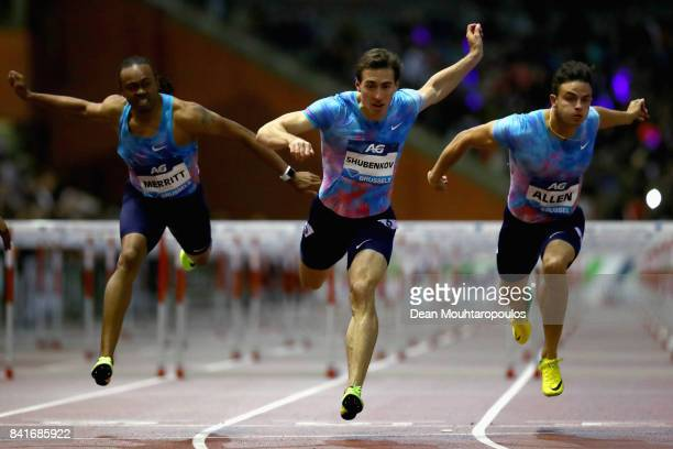 Sergey Shubenkov of Authorised Neutral Athletes or ANA beats Aries Merritt and Devon Allen both of the USA to win the Mens 110m Final during the AG...