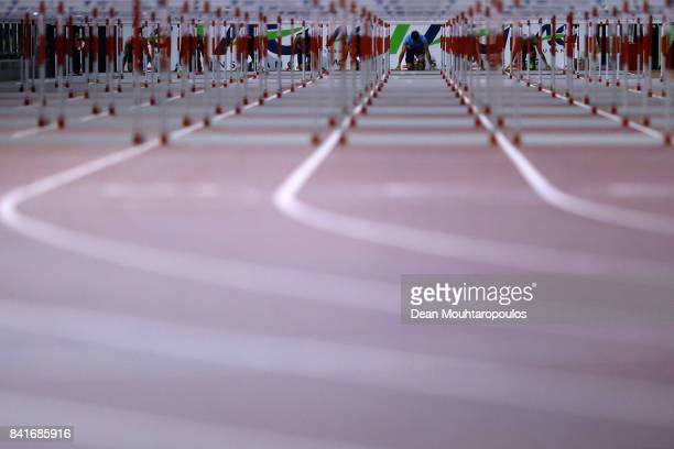 Sergey Shubenkov of Authorised Neutral Athletes or ANA in the starting blocks during the Mens 110m Final at the AG Memorial Van Damme Brussels as...