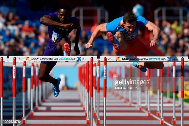 TOPSHOT Sergey Shubenkov of Authorized neutral athlete from Team Europe and Ronald Levy of Jamaica from Team Americas compete during the 110m Hurdles...