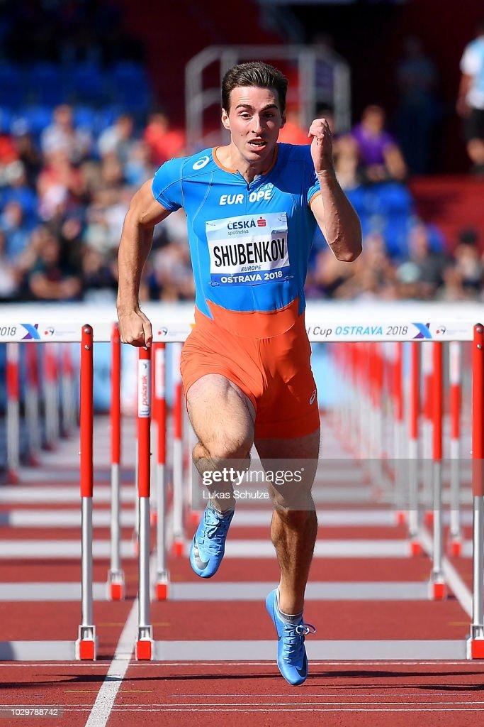 Sergey Shubenkov of Team Europe competes in the Mens 110 Metre ... edd364c4e4bd1