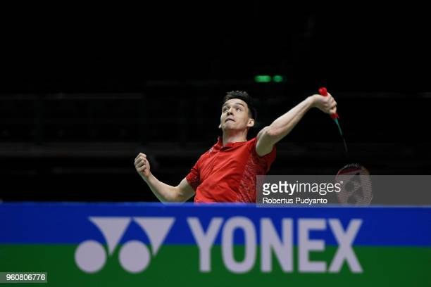 Sergey Sirant of Russia competes against Lee Zii Jia of Malaysia during Preliminary Round on day two of the BWF Thomas Uber Cup at Impact Arena on...