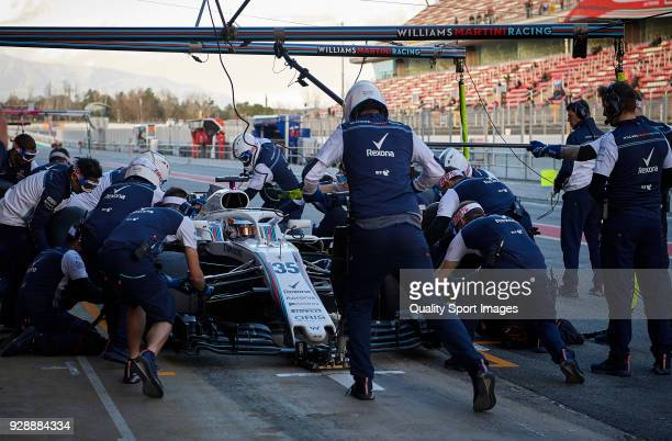 Sergey Sirotkin driving the Williams Martini Racing FW41 Mercedes during a pit stop at the day two of F1 Winter Testing at Circuit de Catalunya on...