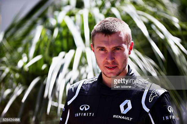 Sergey Sirotkin of Russia and Renault Sport F1 in the Paddock during previews ahead of the Formula One Grand Prix of Russia at Sochi Autodrom on...