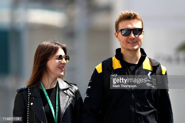 Sergey Sirotkin of Russia and Renault Sport F1 walks in the Paddock before practice for the F1 Grand Prix of Azerbaijan at Baku City Circuit on April...