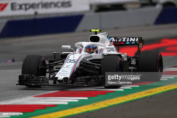 Sergey Sirotkin of Russia and Williams Martini on track during practice for the Formula One Grand Prix of Austria