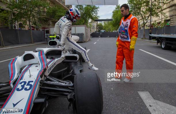 Sergey Sirotkin of Russia and Williams Martini Racing driver's puncture during the race at Azerbaijan Formula 1 Grand Prix on Apr 29 2018 in Baku...