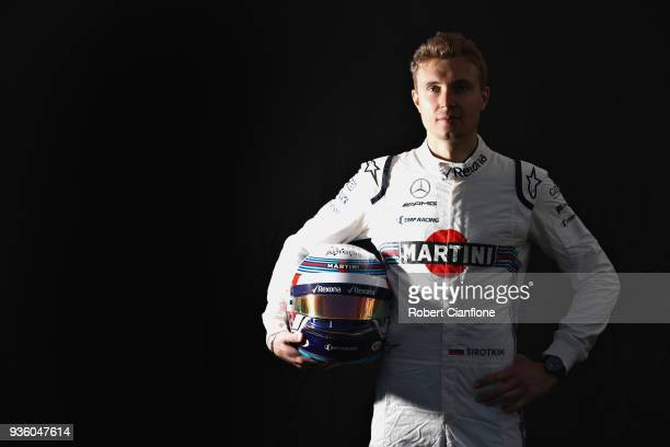 Sergey Sirotkin of Russia and Williams poses for a photo during previews ahead of the Australian Formula One Grand Prix at Albert Park on March 22...