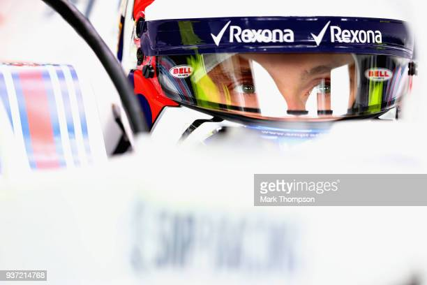 Sergey Sirotkin of Russia and Williams prepares to drive in the garage during final practice for the Australian Formula One Grand Prix at Albert Park...
