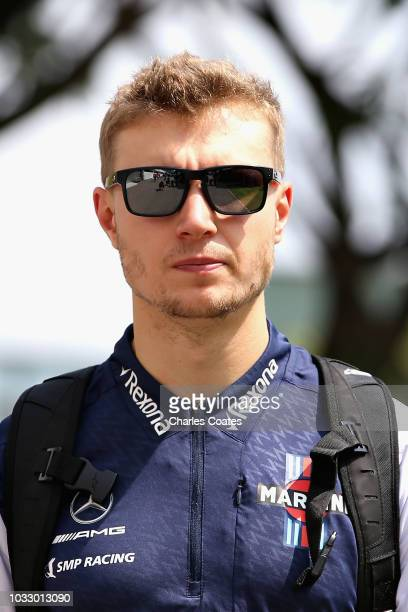 Sergey Sirotkin of Russia and Williams walks in the Paddock before practice for the Formula One Grand Prix of Singapore at Marina Bay Street Circuit...