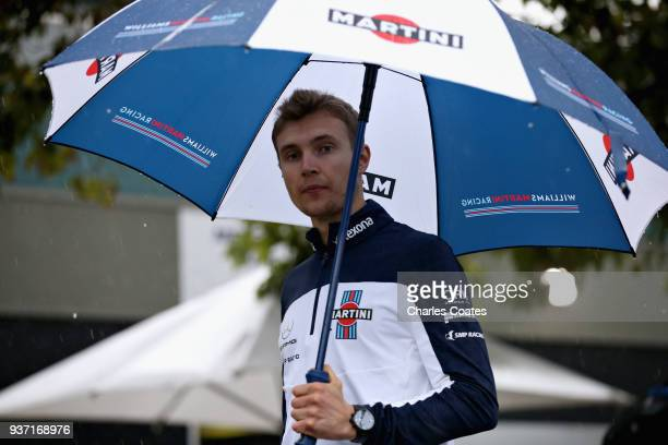 Sergey Sirotkin of Russia and Williams walks in the Paddock before final practice for the Australian Formula One Grand Prix at Albert Park on March...