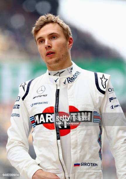 Sergey Sirotkin of Russia and Williams walks in the Pitlane during qualifying for the Formula One Grand Prix of China at Shanghai International...